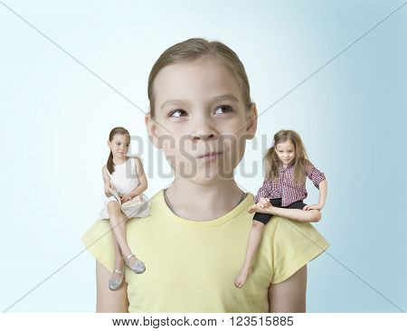 Little girl makes a choice between two of his characters ** Note: Soft Focus at 100%, best at smaller sizes