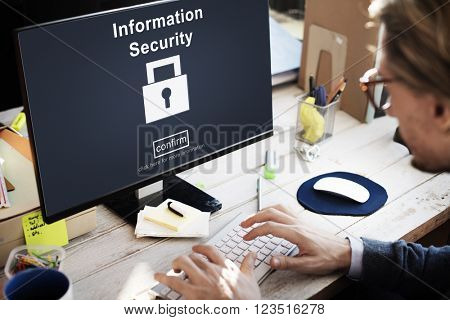 Data Privacy Encrypted Online Security Protection Concept