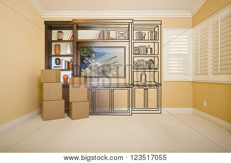 Moving Boxes In Room with Entertainment Unit Drawing Gradating to Photograph.