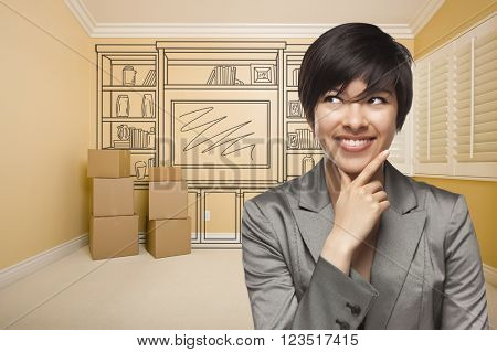 Young Mixed Race Female Looking To The Side In Room With Drawing of Entertainment Unit On Wall.