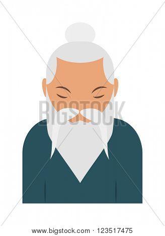 Sage elder yoga pranayama old Hindu man vector.