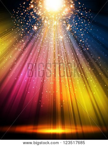 party disco stage light spotlight empty scene illustration easy all editable
