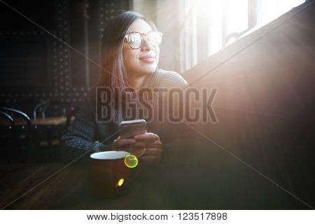 Cafe Casual Girl Sunglasses Traveling Concept