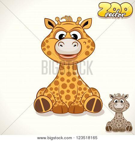 Cute Cartoon African Giraffe. Vector Illustration Zoo