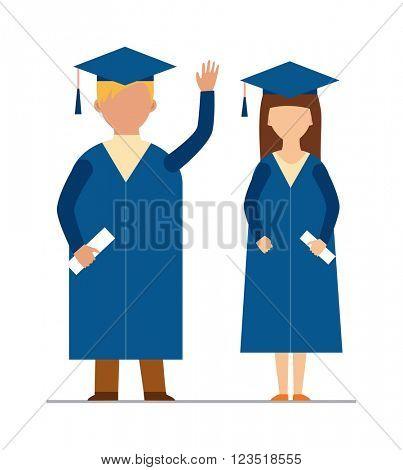 Happy graduation people uniform throwing caps vector.