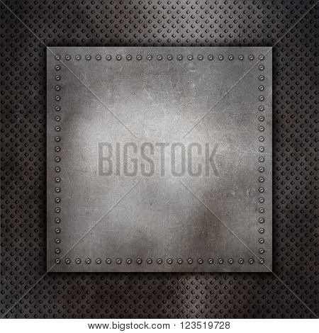 Metallic texture background with rivets and metal plate