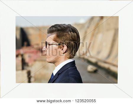 Businessman Confident Picture Frame Smart Concept
