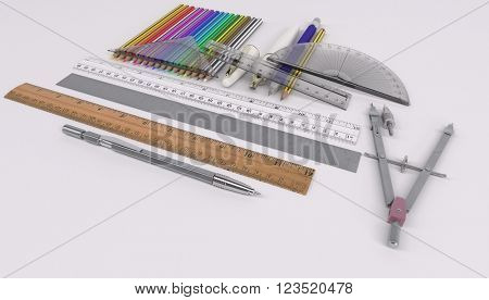 3d render of pencils rulers and drawing tools