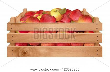Wooden crate with red apples isolated on white