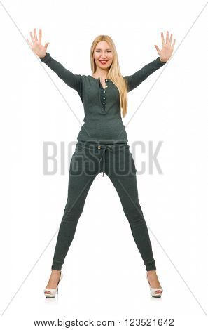 Woman in green suit isolated on white