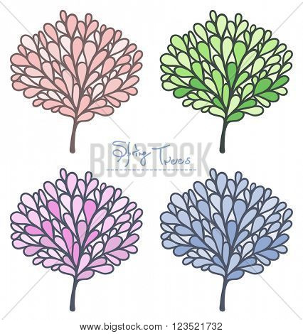 Spring Tree vector collection. Colored silhouette. Stylish emblem set in pastel colors.