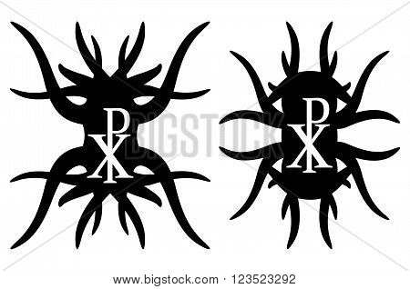 Chi rho hipster elements. Christogram. Isolated on white background