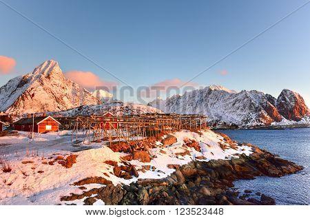Winter in Olenilsoya in Reine Lofoten Islands Norway.