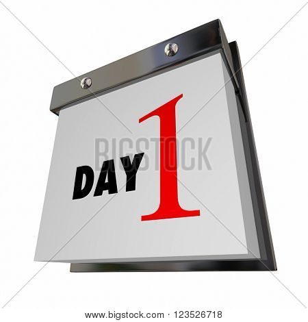 Day 1 One Calendar Date First Beginning Start Words Number Page