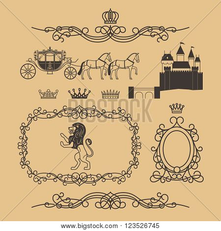 Vintage royal elements and princess decor elements in line style. Vintage royalty frame with crown, princess castle and royal lion. Vector illustration