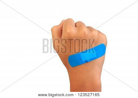 Hand putting adhesive bandage or plaster. bandage on a cut. isolated on white.