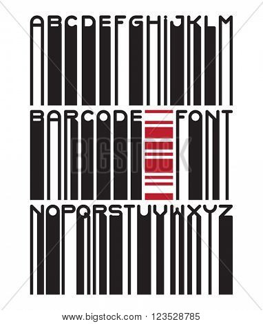 Stylish barcode typeface font. Stripped letters of barcode scanning. Custom barcode font. Barcode letters set. Vector barcode illustration