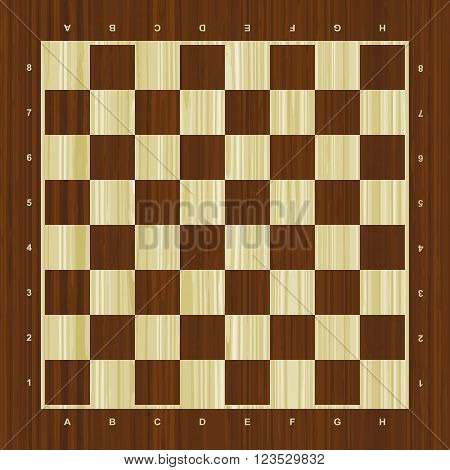 Wooden vector chess board with numbers and letters