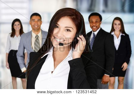 Woman giving customer service on the phone