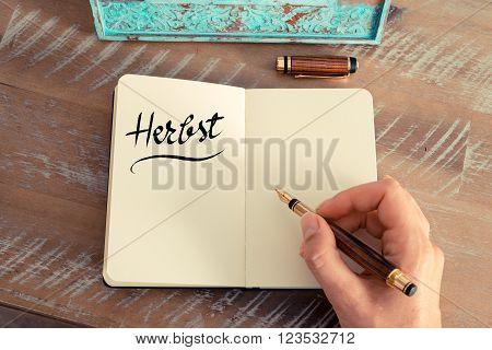 """Handwritten Text In German """"herbst """"  - Translation : Autumn"""