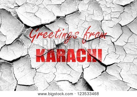 Grunge cracked Greetings from karachi with some smooth lines