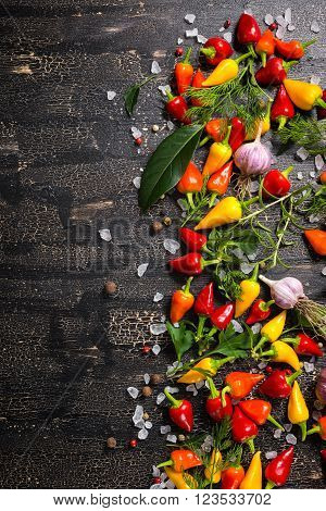 Top View Of Garlic, Dry And Colorful Peppers, Sea Salt, Different Greenery On Cracks Black Backgroun