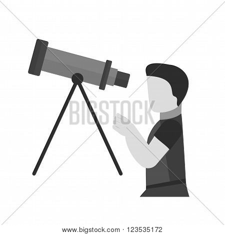 Telescope, binoculars, optical instrument icon vector image. Can also be used for astronomy. Suitable for web apps, mobile apps and print media.