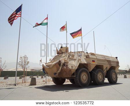 MAZAR-I-SHARIF / AFGHANISTAN - AUGUST 2010: german armored ambulance vehicle