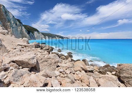 Greece rocky coastline landscape of Kefalonia Island
