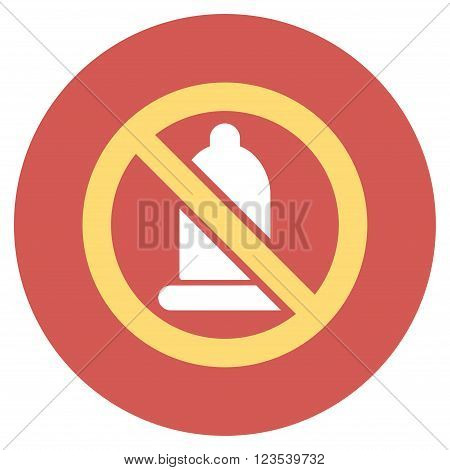 Forbidden Condom vector icon. Image style is a flat light icon symbol on a round red button. Forbidden Condom symbol.