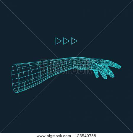 Human Arm. Human Hand Model. Hand Scanning. View of Human Hand. 3D Geometric Design. 3d Covering Skin. Can be used for Science, Technology, Medicine, Hi-Tech, Sci-Fi.