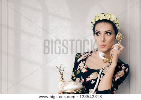 Surprised Retro Woman With Vintage Phone - Funny young woman talking on a old embellished telephone