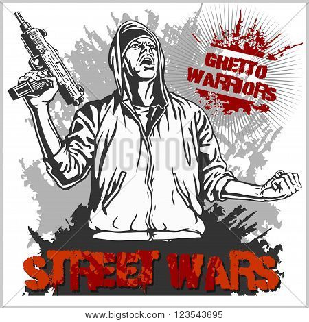 Ghetto Warriors vector illustration. Gangster on dirty graffiti white background.