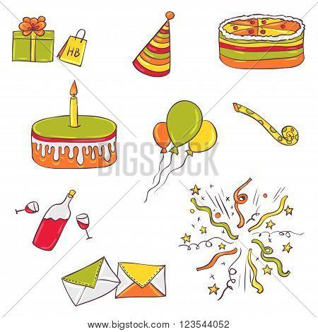 Happy birthday vector set or pattern. Cartoon hand drawn design vector collection.