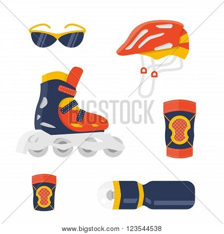 Extreme protection wear. Roller skate vector. Sport equipment for summer activity. Flat shoe and helmet, knee, wrist, elbow pads. Sport sun glasses and sport bottle. Protection equipment isolated set