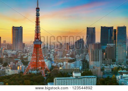 Tokyo Tower with Cityscape in the Evening