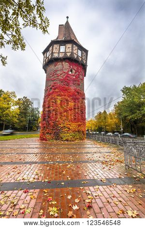 HANNOVER, GERMANY - OCTOBER 25, 2015: Dohrener Turm is late medieval watchtower of Hannover city fortifications. HDR image