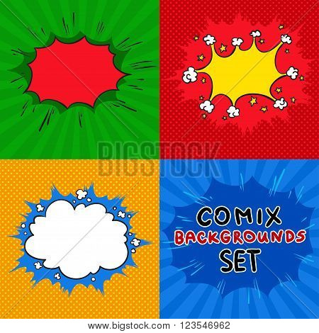 Comics backgrounds vector set. Cartoon old vintage style collection.