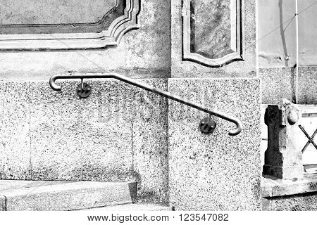 Black Balauster Acces Abstract Handrail In The White Concrete Wall And Shadow