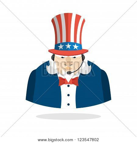 Uncle Sam Call Center. Uncle Sam And Headset. Symbol Of America Responds To Phone Calls. Patriotic C