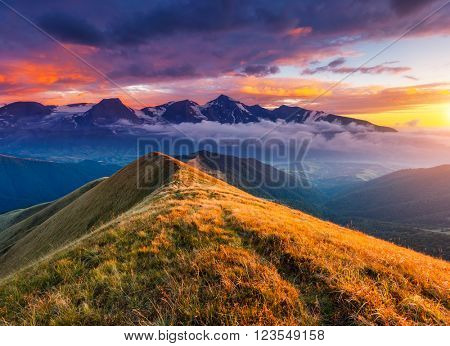 A great view of the hills glowing by sunlight at twilight. Dramatic and picturesque morning scene. Artistic picture. Beauty world. Warm toning effect. Creative collage. Soft filter effect.