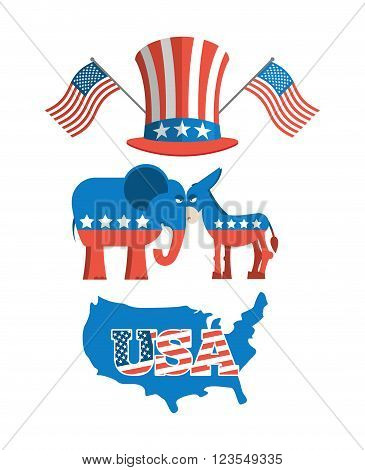 Set elections in America. Uncle Sam hat. American flag. Set political debate in United States. US flag. Donkey and elephant symbols of political parties in America. Democrats against Republicans. Map America poster