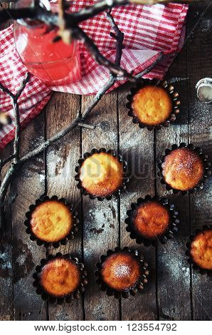 Homemade  Cupcakes Onto An Wooden Background. Rustic Style. Home