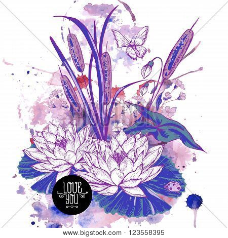 Abstract pond water flowers vector greeting card, Purple botanical shabby chic illustration reeds, butterfly, lily, ladybird wildflowers leaves and twigs Floral design elements.