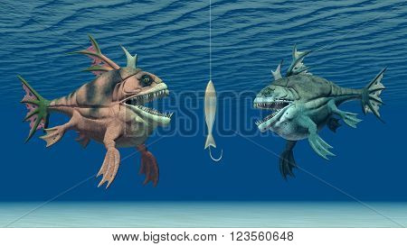 Computer generated 3D illustration with fishing bait and monstrous fish