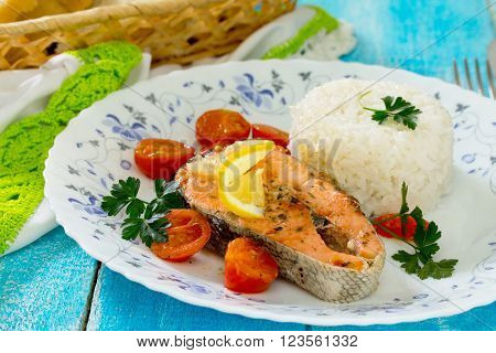 Salmon Steak With Tomato Sauce, In A Rustic Style.