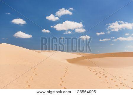 The White Dunes (bau sen bau trang)- landmark near Mui Ne Binh Thuan Vietnam.