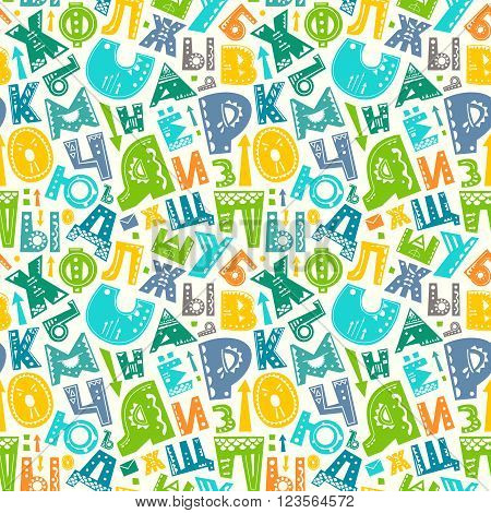 Seamless pattern with cyrillic russian alphabet funny letters. Vector colorful background for print home decor textile design wrapping paper wallpaper