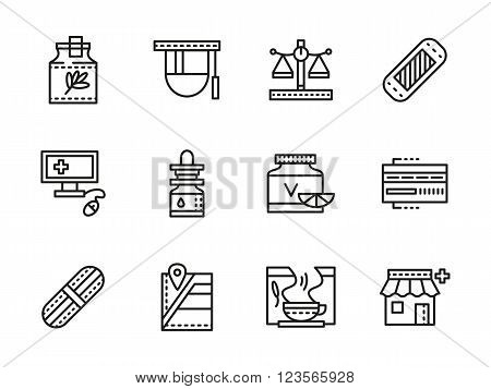 Medication and medical tools. Pharmacy or drugstore. Medicine theme. Collection of black line style vector icons. Elements for web design and mobile.