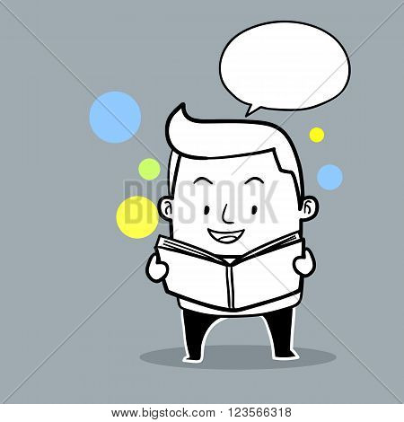 Man reading and speaking , businessman with book and speech bubble